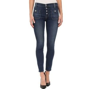 7 FOR ALL MANKIND high waist skinny ankle button